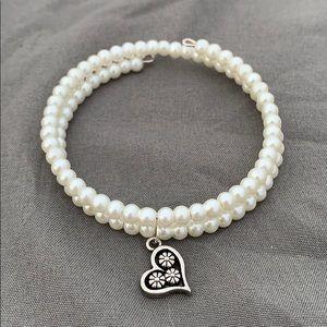 Pearl (glass beads) Wire Wrap-Around Bracelet